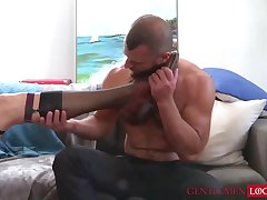 Kinky mature stud Dolf Dietrich sucks off sock covered feet