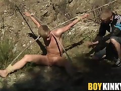 Astonishing twink Chris Jansen gets a chav cum load outdoor
