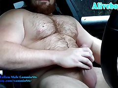 hairy bearded muscle guy stroking off his hard cock