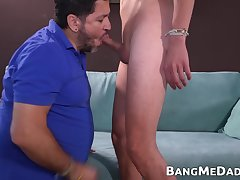 Fat mature dude barebacked and creampied by Latino twinks