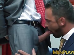 Wild man in suit Logan Moore rimmed and doggystyle pounded