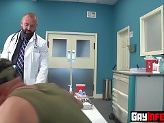 Army man Christian Mitchell gets his asshole probed by Dr Josh