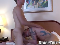 Horny soldiers hardcore raw pounding after juicy ass rimming